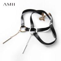 【会员节! 每满100减50】Amii[极简主义]金属圆环Choker 黑皮链条首饰女 2017冬装新短项链
