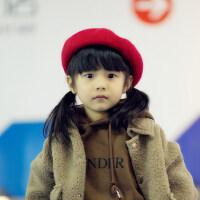 儿童帽子女女童公主毛呢蓓蕾帽韩版百搭可爱儿童贝雷帽