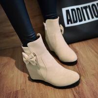 彼艾2017秋冬新款女式短靴红色内增高平底靴子磨砂及踝靴蝴蝶结女靴子