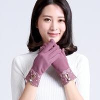 女士手套秋冬季韩版手套开车时尚户外骑车保暖手套触屏手套