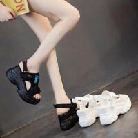 女士凉运动鞋户外百搭休闲厚底松糕内增高跟罗马凉鞋