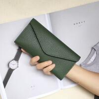 新款女士钱包女长款 韩版荔枝纹薄款三折复古纯色信封皮夹