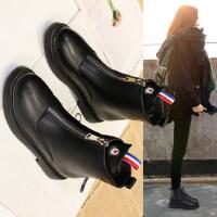 平底厚底加绒靴马丁靴秋冬新款韩版短靴女百搭平跟学生中筒靴