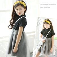 女童夏天连衣裙短袖儿童拼接款纯色裙子纱裙棉小女孩公主裙蓬蓬裙
