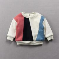 婴儿绒衫宝宝卫衣冬季加绒上衣0-1-2岁冬装新生衣服拼色A类外出服