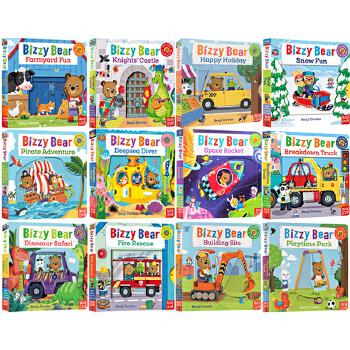 英文原版幼儿绘本0 3岁 Bizzy Bear 小熊很忙系列 8册套装 Dinosaur Safari Space Rocket Pirate Adventure 忙碌的小熊纸板操作书 Knights' Castle