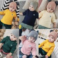 加绒加厚打底衫T恤女婴儿上衣服秋装0岁6个月3男宝宝长袖1秋冬装