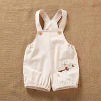 宝宝连体爬服夏装0-61薄款2开档3男儿童女婴儿背带短裤月岁半 浅棕色