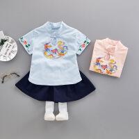 2018新款女宝宝汉服中国风唐装套装女童夏装0婴儿童装1-3周岁礼服