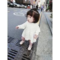 女童长袖连衣裙秋装新款韩版婴幼儿公主裙女宝宝时尚花边裙