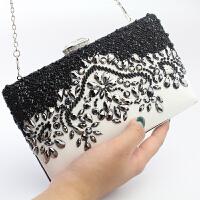 新款镶钻年会手拿包晚宴珍珠包女宴会晚会礼服婚宴名媛手包小 黑色 可以放5.5寸手机