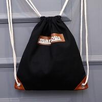 新款 旅游登山双肩包抽绳包学生束口袋帆布包女包 男包 黑色巧克力 双肩款 有内兜
