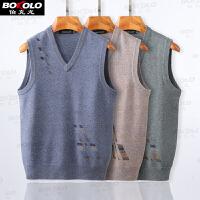 冬季厚款�羊毛衫背心男�b��衫V�I保暖修身套�^提花羊毛毛�衣Z1729