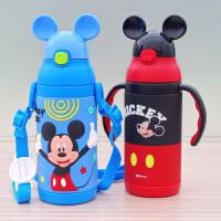 迪士尼保温杯不锈钢儿童学生水壶便携防漏宝宝婴儿吸管水杯带把手