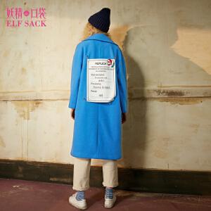 【尾品汇大促】妖精的口袋艺术副本冬装新款宽松翻领贴布绣毛呢大衣外套女