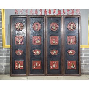 C930民国《多宝四条屏》(血檀边框,玉石螺钿镶嵌而制,底板刷黑色大漆,包浆厚重,做工精细,保存完整。属实用收藏型。)
