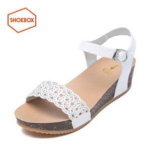 达芙妮旗下shoebox鞋柜夏新款韩版厚底坡跟凉鞋中跟平底女鞋