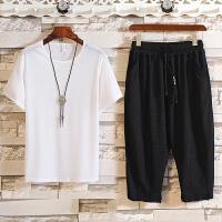夏季新款套装男士韩版修身潮流休闲个性短袖7分裤帅气T恤潮两件