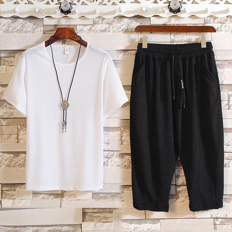 夏季新款套装男士韩版修身潮流休闲个性短袖7分裤帅气T恤潮两件 一般在付款后3-90天左右发货,具体发货时间请以与客服协商的时间为准