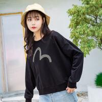 卫衣 女士2020春秋季新款女装韩版刺绣字母原宿风套头女式学生圆领t恤