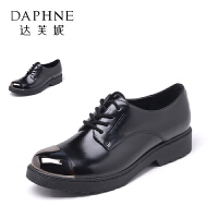 Daphne/达芙妮春秋英伦风深口系带拼接低跟帅气单鞋女1016404161