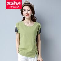 翎影时尚 2017夏装新款短袖T恤女 民族风拼接修身显瘦圆领上衣
