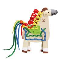Hape小马穿绳3-6岁串珠绕珠系列儿童益智创意玩具婴幼玩具木制E1016