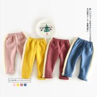 韩版竖纹冬装加厚加绒卫裤直筒裤休闲裤运动裤男女童婴幼儿1-2岁