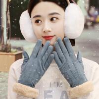手套女冬保暖可爱学生韩版加绒加厚棉防寒骑行开车触屏鹿皮绒手套