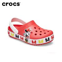 Crocs女童鞋凉鞋夏新款卡骆驰迪士尼联名米妮公主洞洞鞋|206308 趣味学院迪士尼米妮儿童卡骆班小克骆格