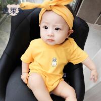 婴儿连体衣服宝宝新生儿季爬爬服01岁个月款短袖三角新年