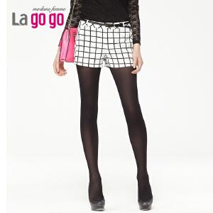 lagogo拉谷谷春季新款简约格子休闲短裤