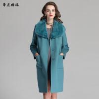 秋冬女士中长款外套水貂领加棉双面羊毛呢大衣M-616353