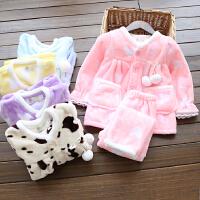 柔软女童法兰绒家居服套装 2017冬款儿童韩版加绒加厚睡衣两件套