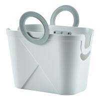 手提洗澡篮子浴室洗漱用品收纳篮沐浴篮简约桌面塑料收纳筐脏衣篮