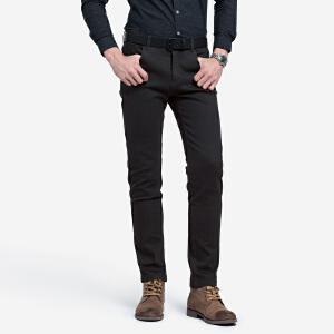 骆驼男装 秋冬新款青年直筒长裤纯色中腰微弹韩版休闲裤男士