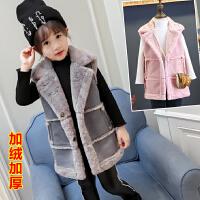 儿童加绒加厚中长款马甲女童韩版保暖上衣外套2018春冬新款C801 O