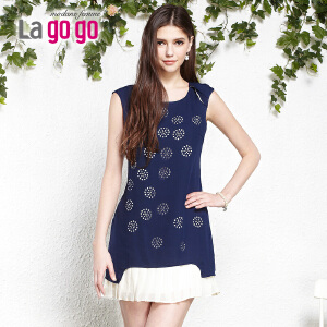 lagogo拉谷谷2014夏季新款淑女时尚修身波点洋装
