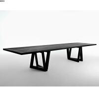 实木办公桌设计师工作台北欧电脑桌现代黑色复古工业风会议桌