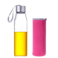 550ML耐热玻璃水瓶创意车载玻璃杯子矿泉水瓶带盖茶杯便携水杯杯子女透明水瓶学生运动男韩版随手杯粉色