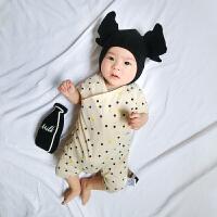 新生婴儿连体衣季短袖薄款宝宝哈衣睡衣爬服幼儿装运动服