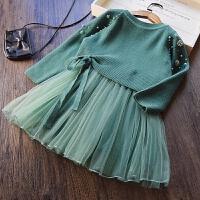 20180509201637613韩国童装 女童钉珠针织衫+背心裙两件套儿童韩版毛衣篷篷裙套装