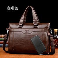 袋鼠男士手提包公文包休闲商务男式单肩包韩版软皮休闲时尚电脑包 咖啡色【送手包】