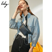 Lily2018秋新款女装帅气两用简约字母腰包背带斜跨包118300BZ428