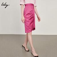 【此商品参加一口价,预估到手价79元】Lily春夏新款女装时髦亮眼紫红不对称西装裙半身裙118240C6542