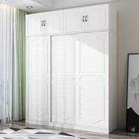 衣柜推拉门23卧室柜子移门简约现代经济型实木板式组合大衣橱 长180*高240 +顶柜