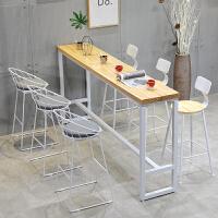 实木吧台桌家用简约靠墙隔断长条窄桌子高脚桌简易奶茶店吧台桌椅 长300宽60高105木板厚5CM