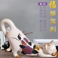 创意家居招财猫装饰品摆件客厅酒柜电视柜摆设现代简约工艺品礼物