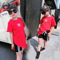 女童打底衫2017夏装新款童装韩版儿童数字不规则下摆短袖t恤上衣