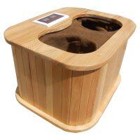 无水远红外线足浴盆高25cm电加热托玛琳频谱足浴桶实木质泡脚桶